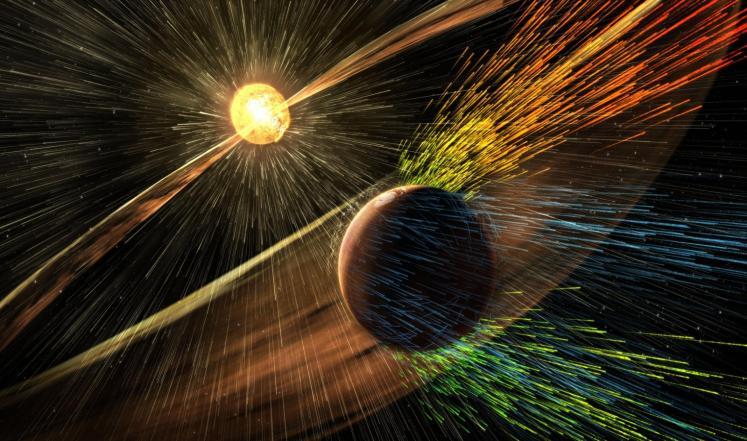 ناسا NASA : دمار الغلاف الجوي للمريخ بسبب عاصفة شمسية